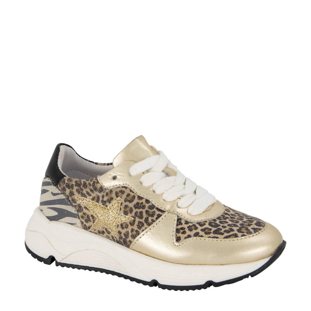Limelight girl   leren sneakers met panterprint goud, Goud/Beige/Zwart