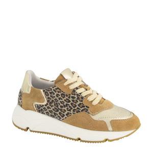 leren sneakers met panterprint goud