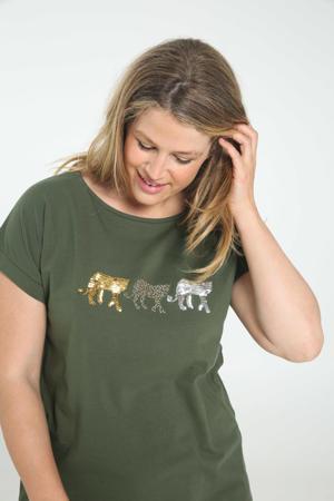 T-shirt van biologisch katoen donkergroen/wit/bruin