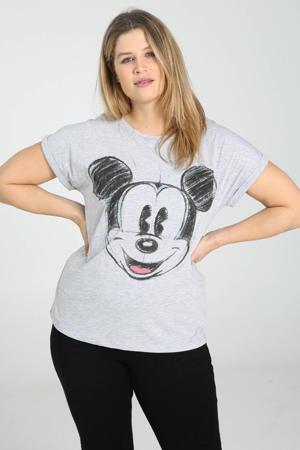 Mickey Mouse T-shirt met printopdruk lichtgrijs/zwart