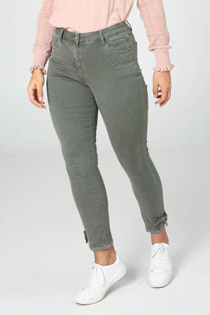 high waist slim fit broek kaki