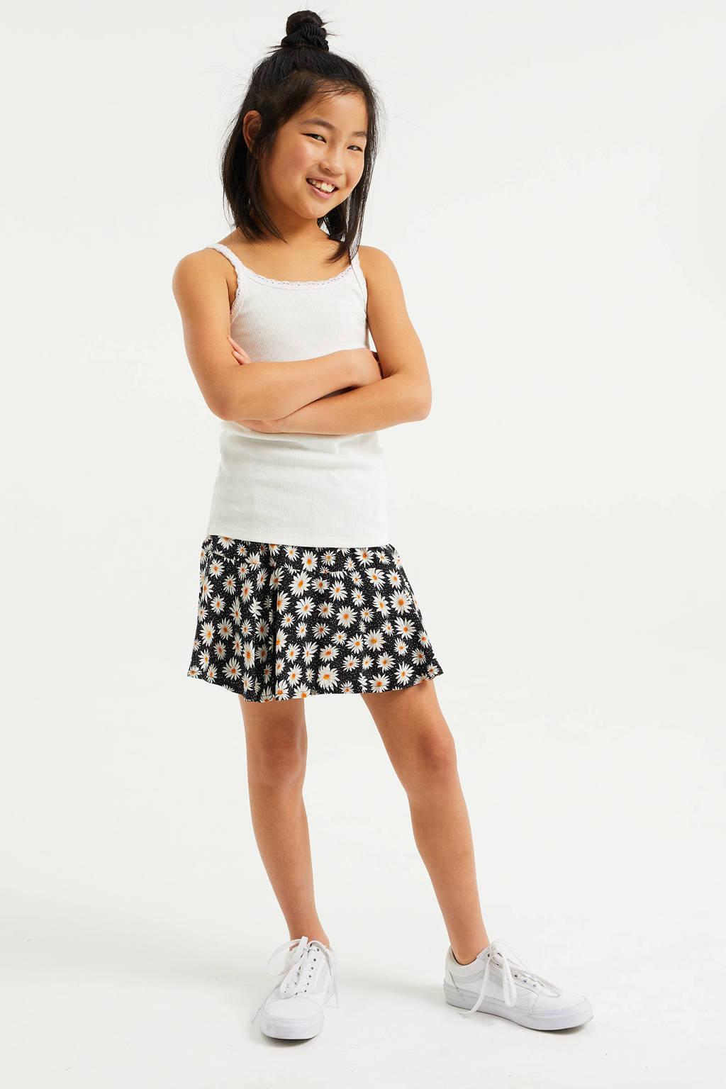 WE Fashion singlet met borduursels wit, Wit