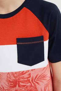 WE Fashion T-shirt met bladprint roodoranje/wit, Roodoranje/wit