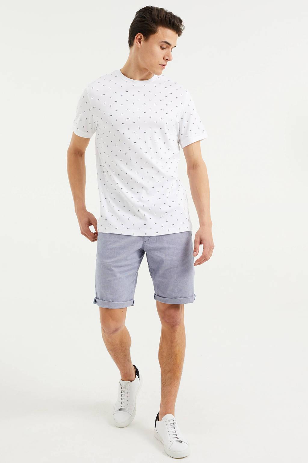 WE Fashion slim fit T-shirt wit, White Uni