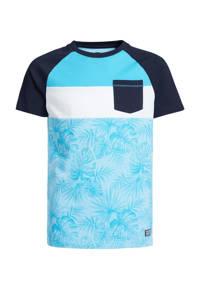 WE Fashion T-shirt met bladprint donkerblauw/lichtblauw/wit, Donkerblauw/lichtblauw/wit