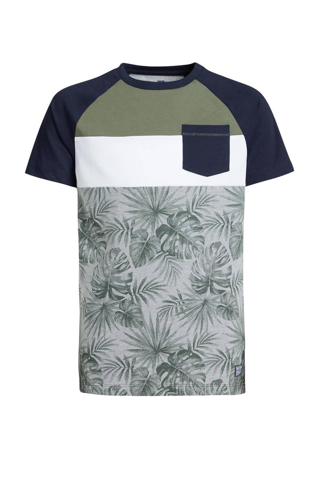 WE Fashion T-shirt met bladprint army groen/zwart/wit, Army groen/zwart/wit