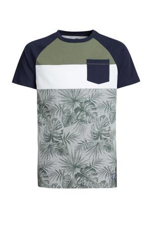 T-shirt met bladprint army groen/zwart/wit