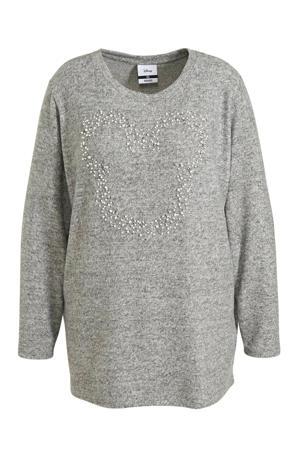 trui met kraaltjes grijs