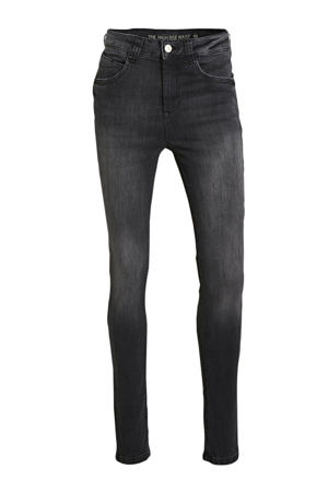 high waist skinny jeans washed black