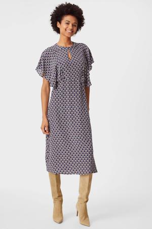 maxi jurk met all over print en vleermuismouwen blauw