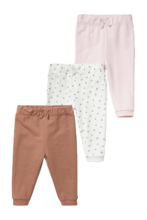 babybroek - set van 3 bruin/roze/ecru