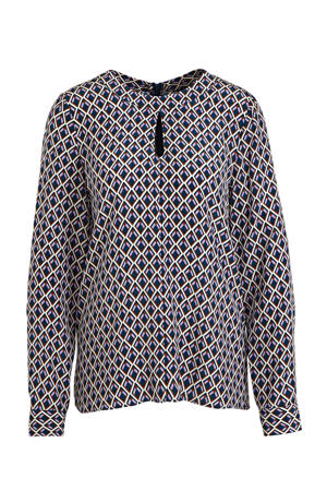 top met all over print en open detail blauw/roze/wit