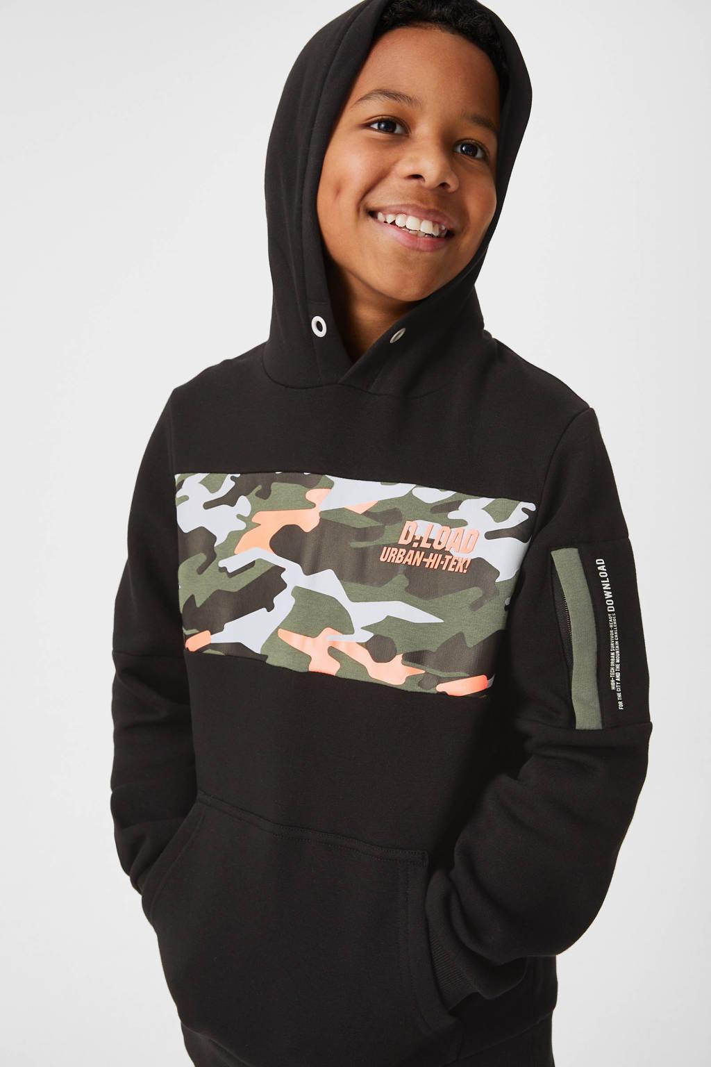 C&A Here & There hoodie met camouflageprint zwart/groen/oranje, Zwart/groen/oranje