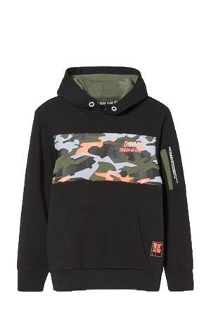 hoodie met camouflageprint zwart/groen/oranje