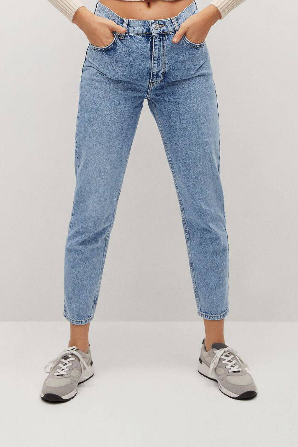 Mango cropped high waist straight fit jeans light blue, Light Blue