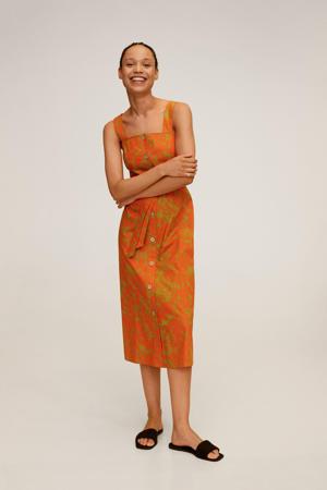 A-lijn jurk met all over print en ceintuur oranje/groen