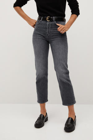 cropped straight fit jeans grijs