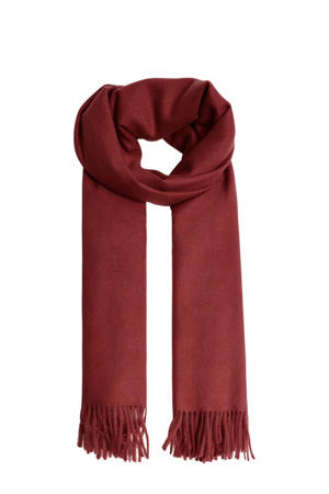 sjaal met franjes donkerrood
