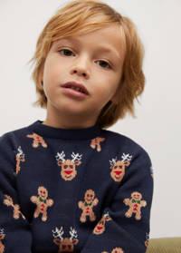 Mango Kids  kersttrui met all over print donkerblauw/bruin, Donkerblauw/bruin