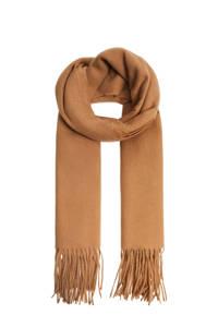 Mango sjaal met franjes camel, Camel