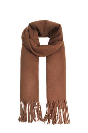 sjaal met franjes bruin