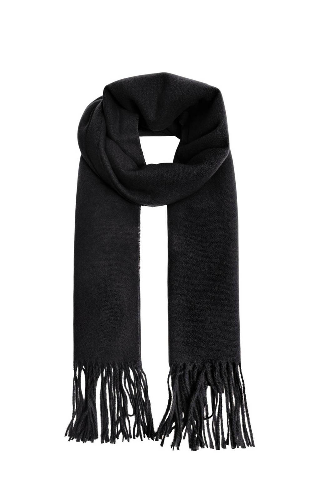 Mango sjaal met franjes zwart, Zwart