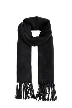 sjaal met franjes zwart