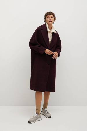 wollen  coat met textuur donkerrood