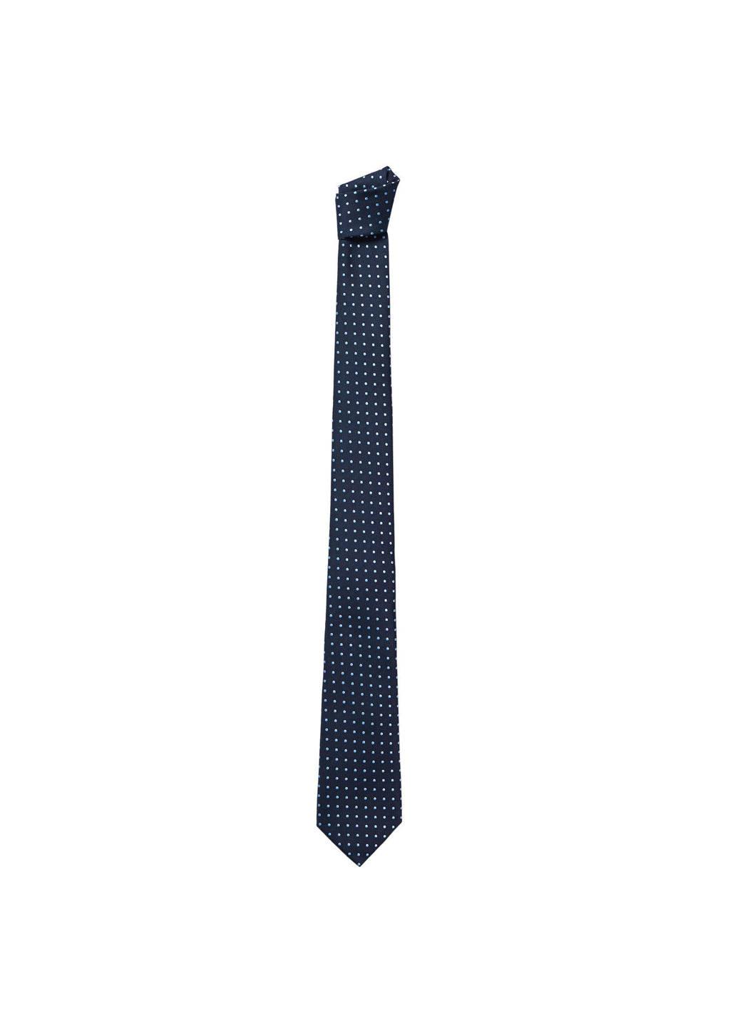Mango Man stropdas donkerblauw/wit, Donkerblauw/wit