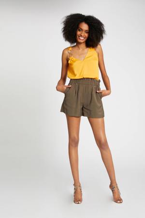 high waist loose fit short kaki