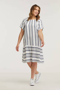 Ciso jurk met all over print en volant wit/donkerblauw, Wit/donkerblauw