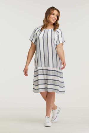 jurk met all over print en volant wit/donkerblauw