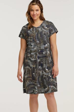jurk met all over print donkerblauw/wit/beige