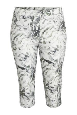 cropped skinny capri met bladprint wit/antraciet/groen