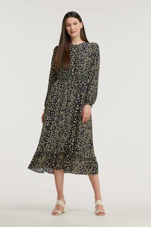 jurk met all over print en ruches donkerblauw/groen
