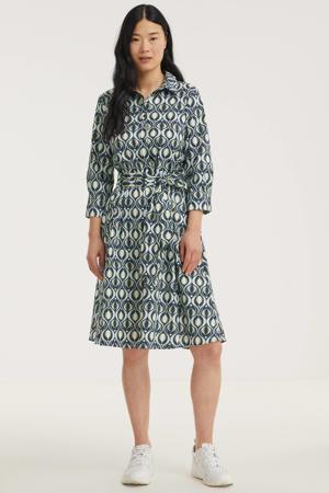 blousejurk met all over print blauw/lichtgroen/wit