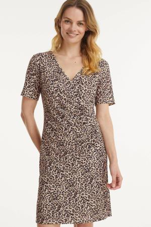 jurk met panterprint en plooien beige/bruin