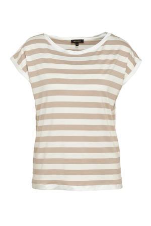 gestreept T-shirt beige