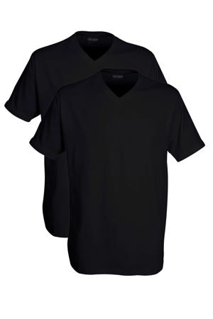 +size T-shirt (set van 2) zwart