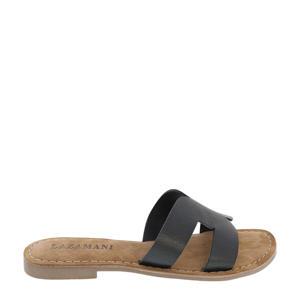 75.747 leren slippers zwart