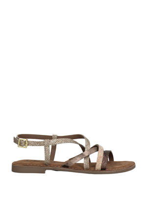 75.511 leren sandalen met slangenprint beige