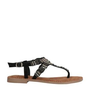 75.765  suède sandalen zwart