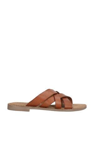 75.795 leren slippers cognac