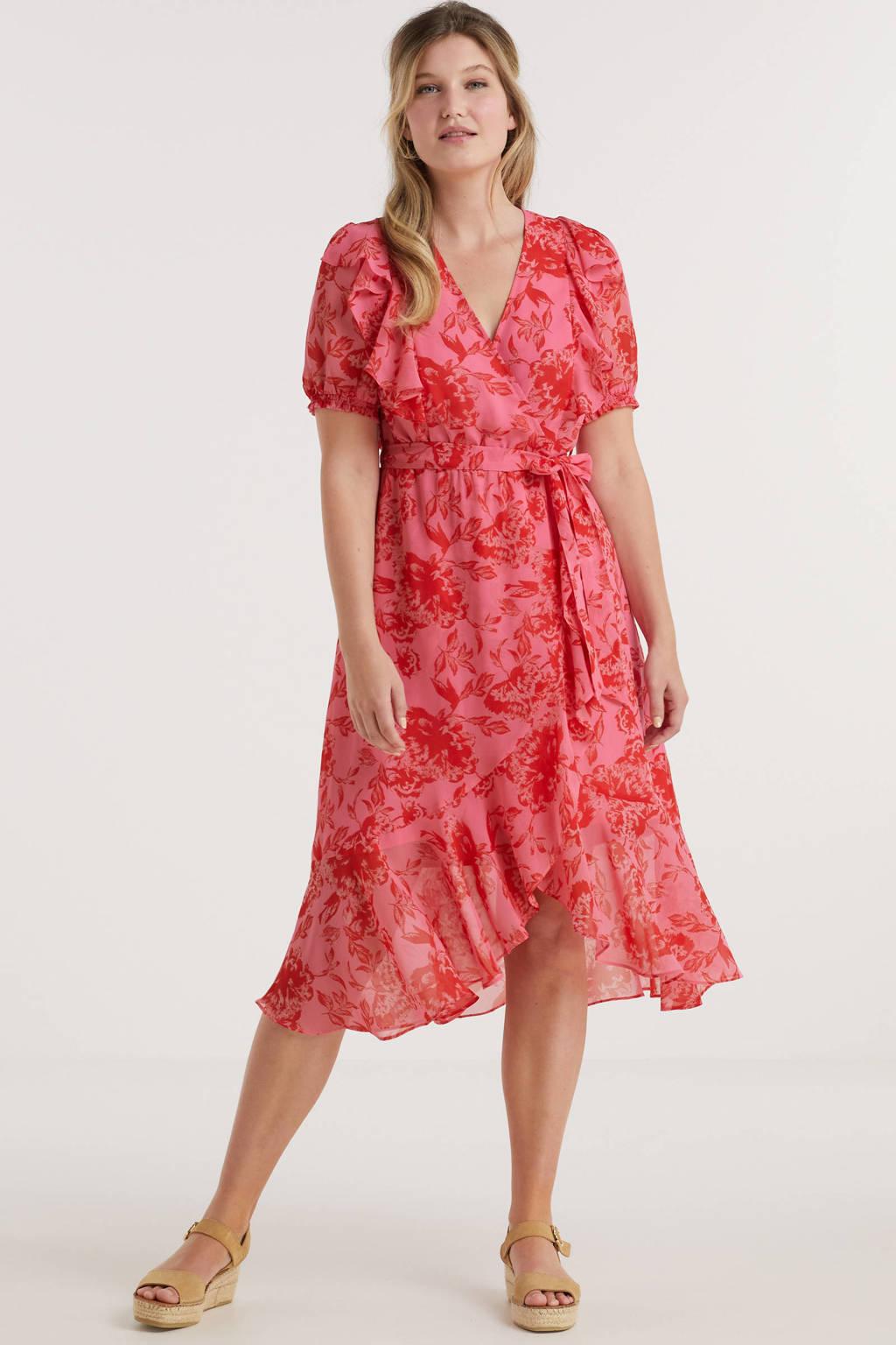 Miljuschka by Wehkamp wikkel-look jurk met ruches en bloemenprint rood, Rood/roze