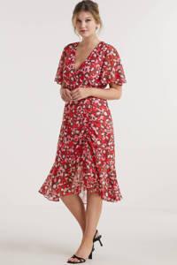 Miljuschka by Wehkamp jurk met rimpels en panterprint rood, Rood/roze/zwart