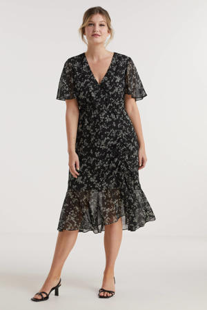 jurk met rimpels en millefleur print zwart