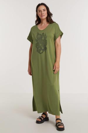 T-shirtjurk met printopdruk groen/zwart