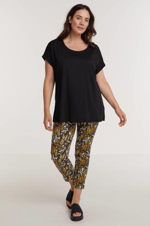 skinny jeans met bladprint wit/geel/groen