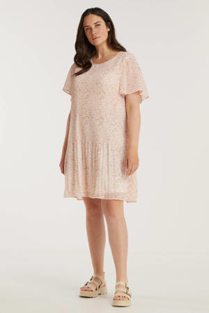 gebloemde semi-transparante jurk lichtroze/wit/oranje