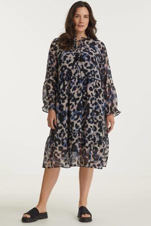 semi-transparante jurk met dierenprint en volant lichtroze/zwart/blauw